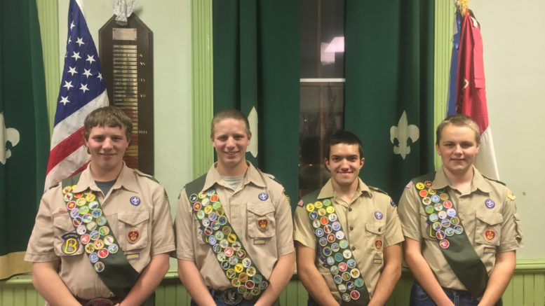 Four scouts earn the rank of Eagle Scout