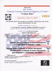 Vietnam Veterans Memorial Highway of Valor Tribute Ride taking place on Saturday