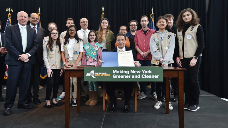 On Earth Day, governor signs legislation banning single-use plastic bags in New York