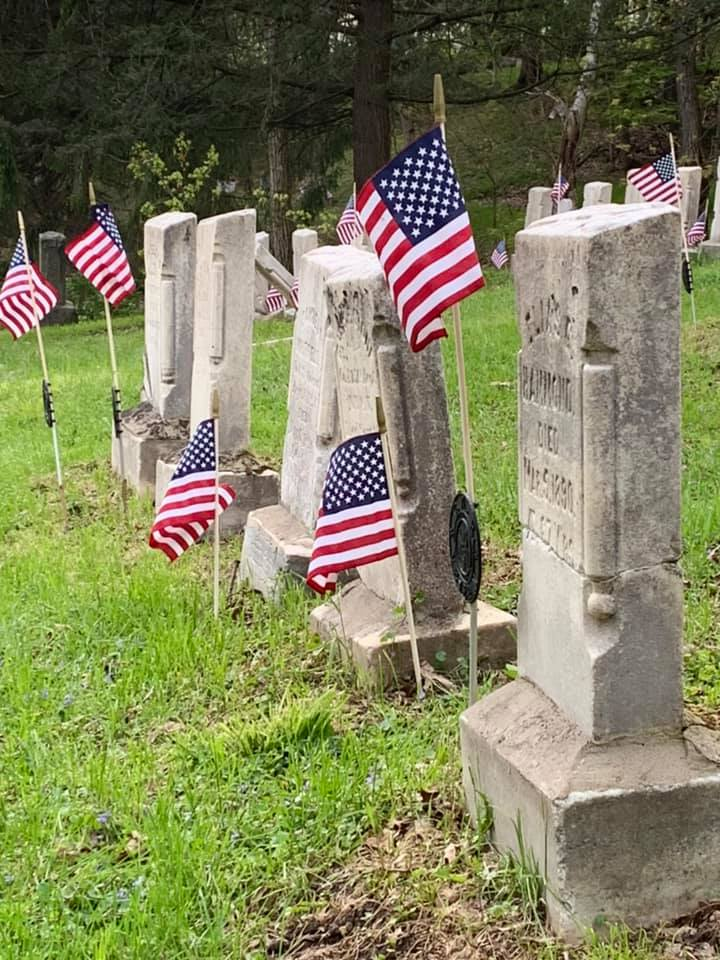 Flags In on Tioga County Veteran Headstones