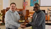 Lakeview Chapel presented with bronze statue from Samaritan's Purse