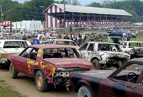 The Demolition Derby at The Tioga County Fair