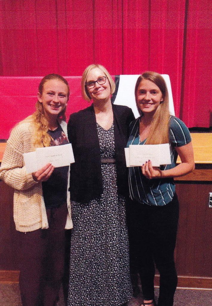 P.E.O. awards Emily Holt and Madison Sherwood