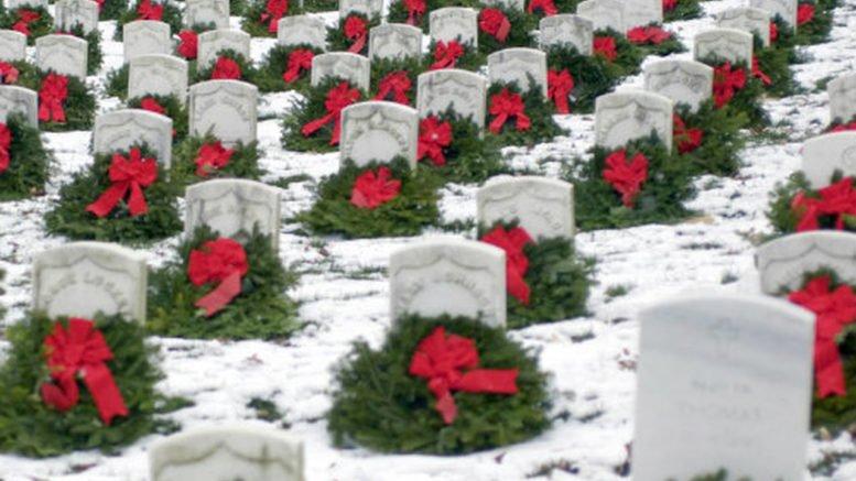 Wreaths on Veteran graves for Christmas