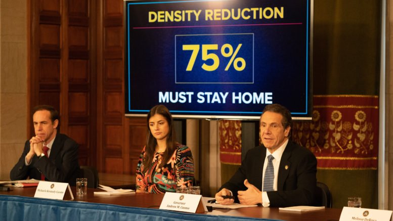 Governor mandates reduction of in-office workforce by 75 percent; exception for essential services