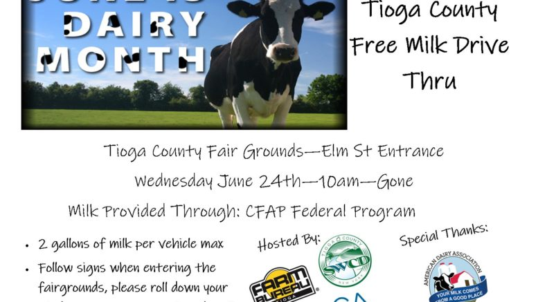 Tioga County's Ag Group to host free dairy drive thru event on June 24