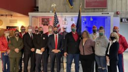 Senator Fred Akshar inducts Sgt. Eric Fetterman into the 2020 Senate Veterans Hall of Fame