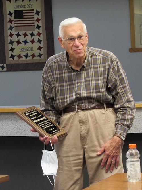 Milton Dougherty recognized as long-standing Candor Historical Society President