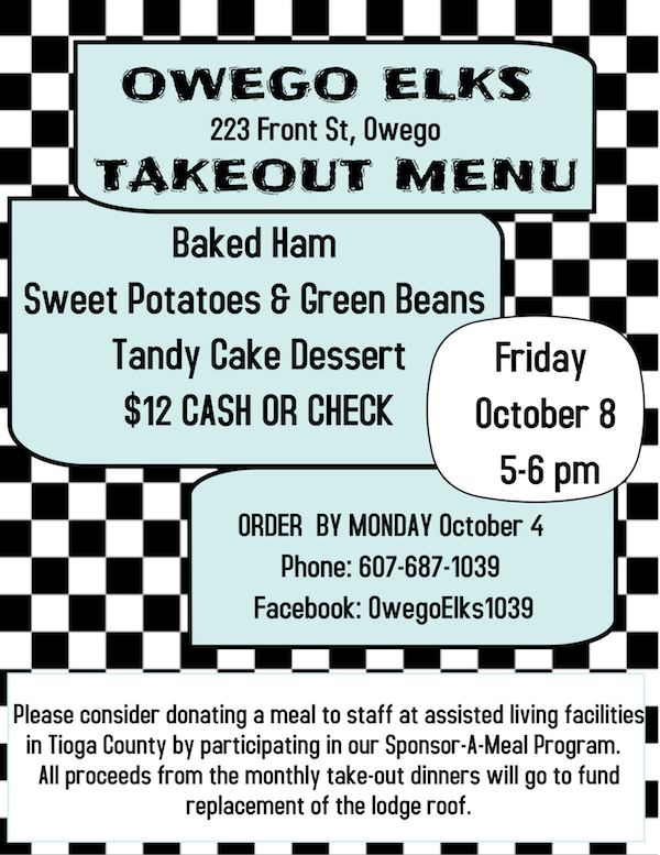 Owego Elks to hold their monthly dinner on October 8