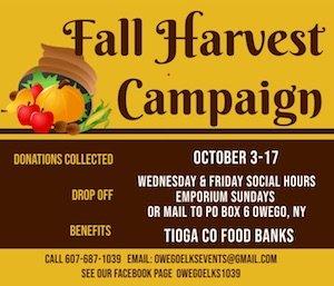 Owego Elks Lodge announces 2021 Fall Harvest Campaign